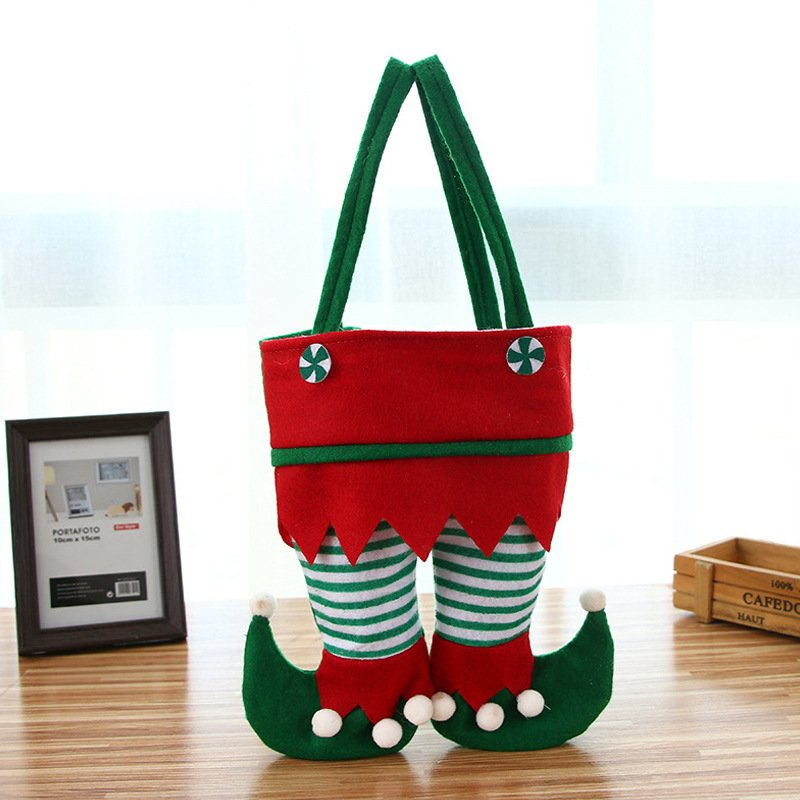 Christmas ornament red pants candy bag elf gift bag Christmas restaurant red wine bag decoration