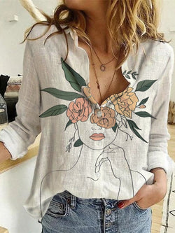 White Casual Long Sleeve Shirt Collar Shirts & Tops