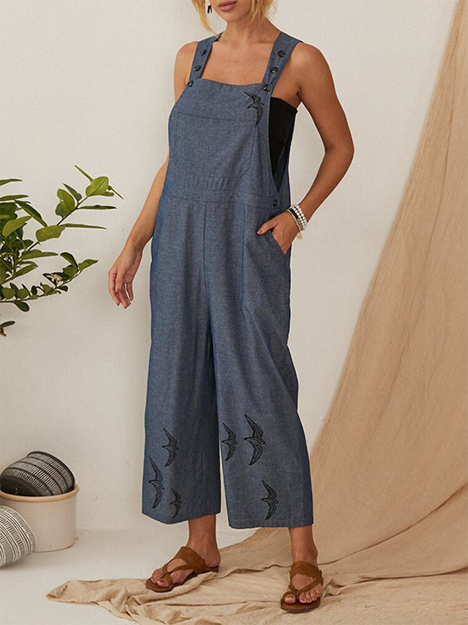 Women's Printed Wide Straps Jumpsuit