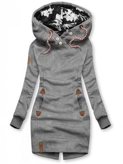 Grey Shift Cotton Hoodie Casual Sweatshirt