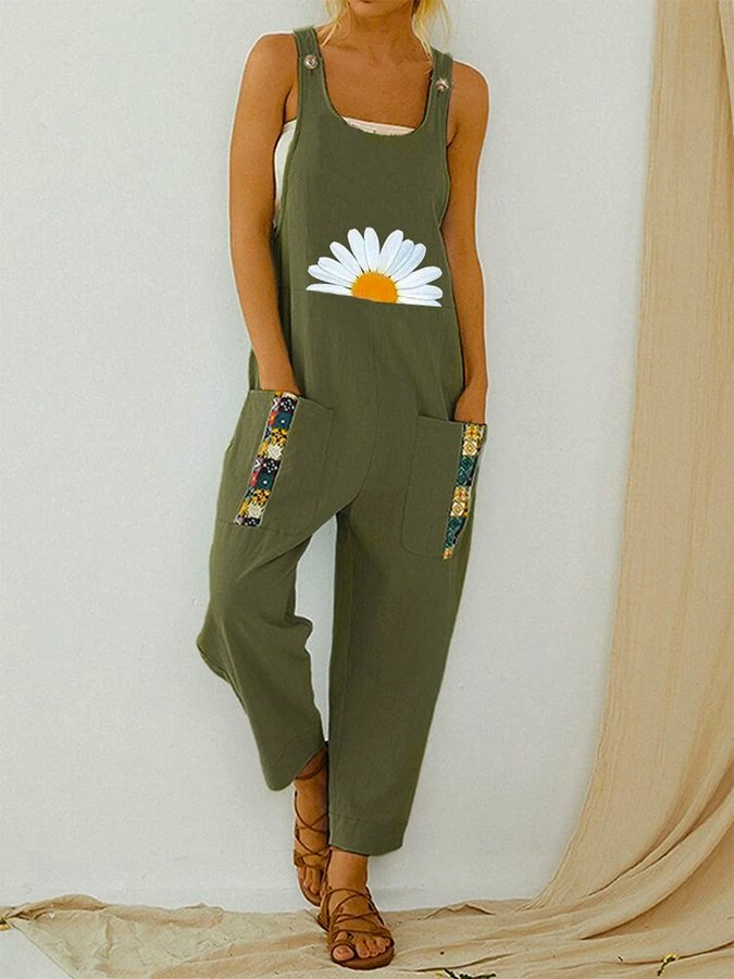 Vintage Daisy Floral Printed Straps Patchwork Jumpsuit With Pocket