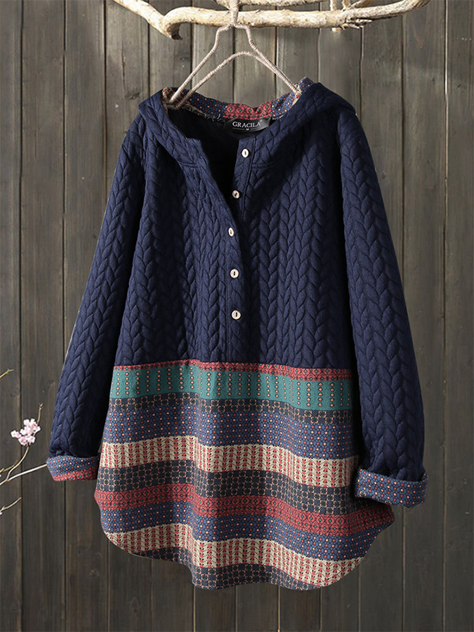 Vintage Jacquard Patch Print Half Button Long Sleeve Hoodies