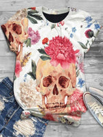 Round Neck Casual Short Sleeve Floral Shirts & Tops