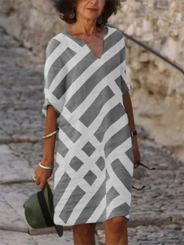 Casual V Neck Geometric Long Sleeve Dresses