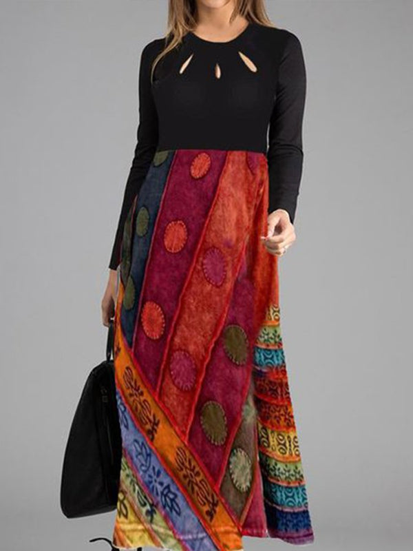 Vintage Long Sleeves Round Neck Printed Swing Maxi Dresses
