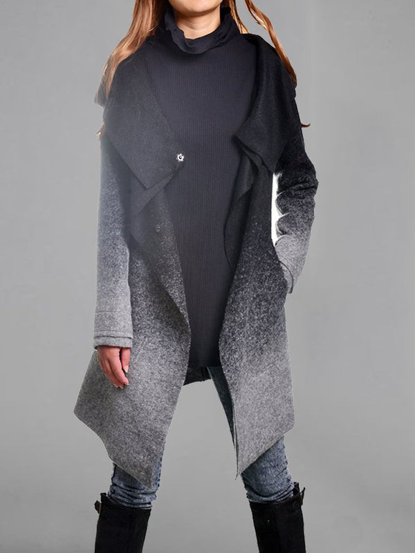 Oversize Cowl Neck Buttoned Long Sleeve Coat