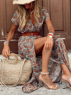 Boho Plus Size V Neck Print Short Sleeve Split Maxi Dress