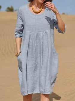 Blue Shift Holiday Crew Neck Linen Dresses