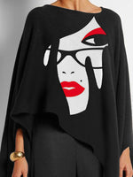 Black High Low Batwing Crew Neck Printed Shirts & Tops