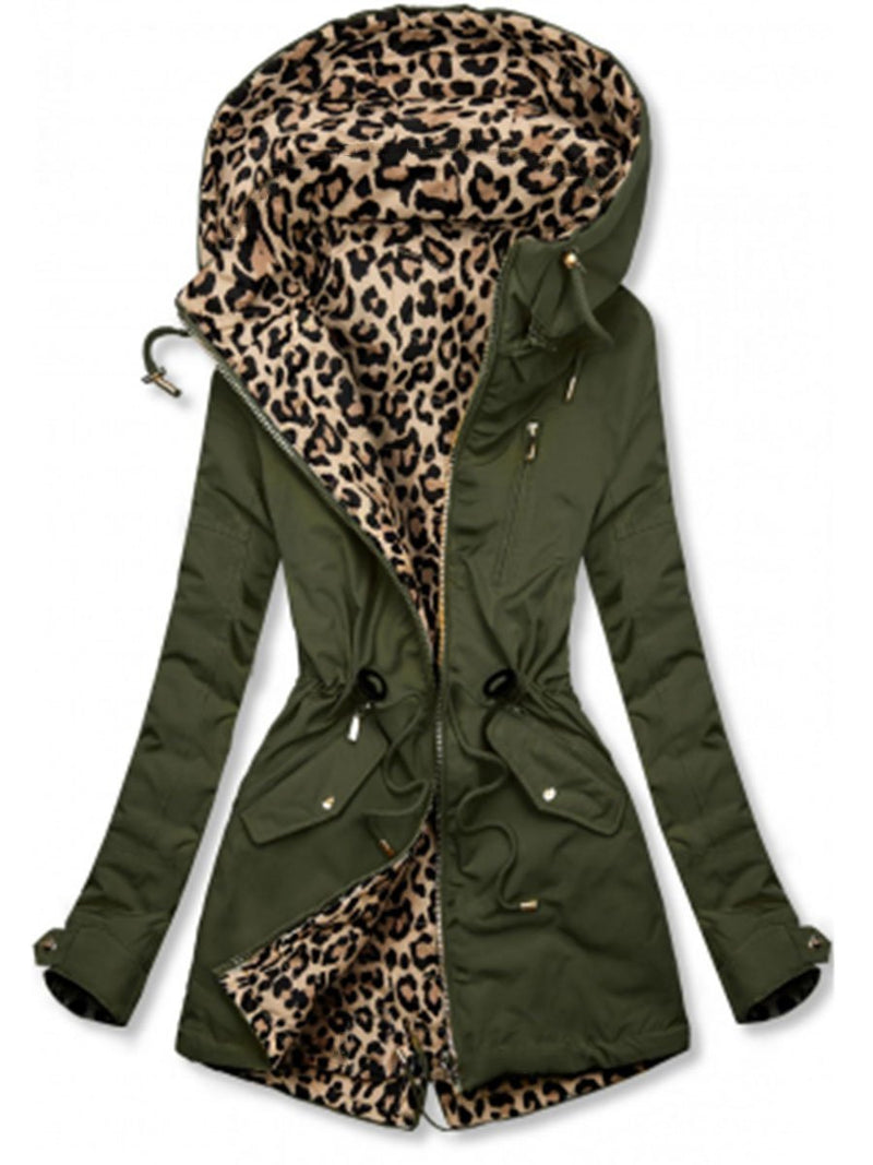 Army Green Casual Leopard Print Cotton-Blend Outerwear