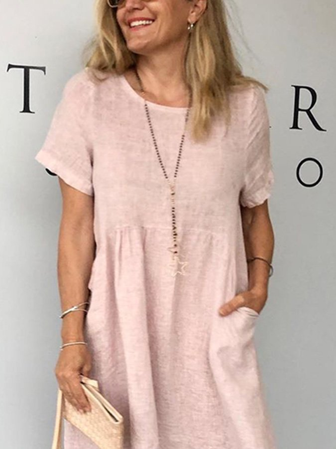 Pink Crew Neck Casual Shift Dresses