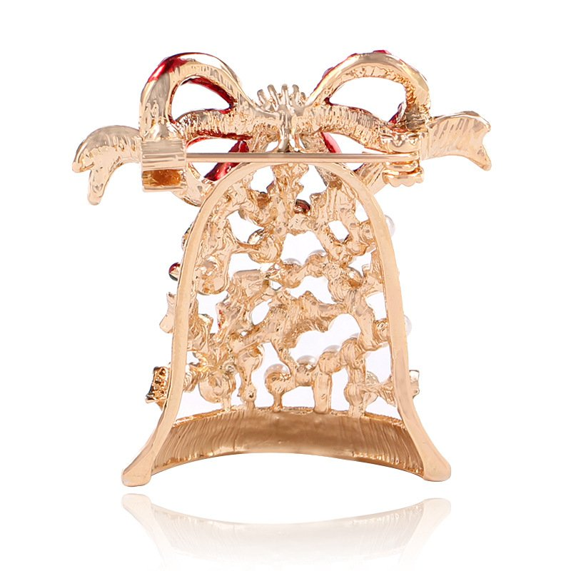 Fashion Jewelry Retro Gold Color Brooch Bowknot Bell Crystal Brooches Pins Shawl Buckle Christmas
