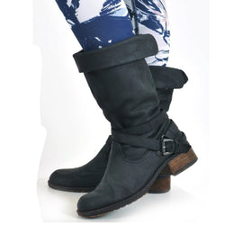 Black Leather Low Heel Daily Winter Boots