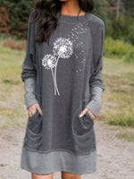 Gray Casual Crew Neck Dresses