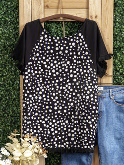 Cuffs Frosted Polka Dot Stitching Top
