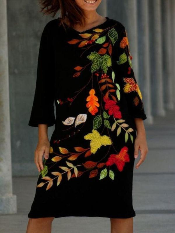 Black Long Sleeve V Neck Floral A-Line Dresses