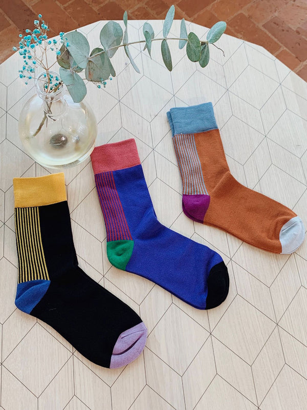 Multicolor Vintage Women's Colorblock Striped Casual Socks
