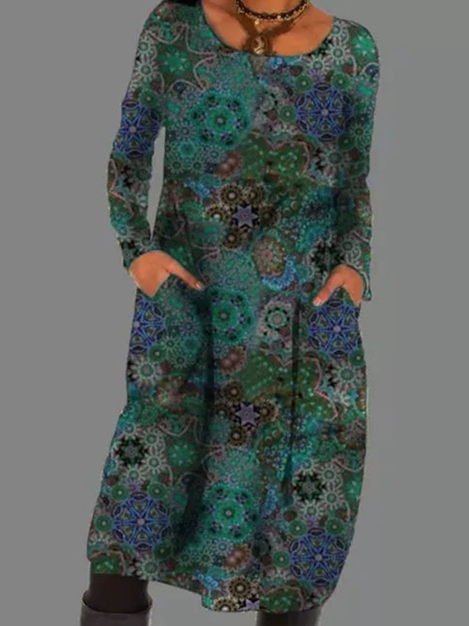 Green Floral Long Sleeve Printed Cotton-Blend Dresses