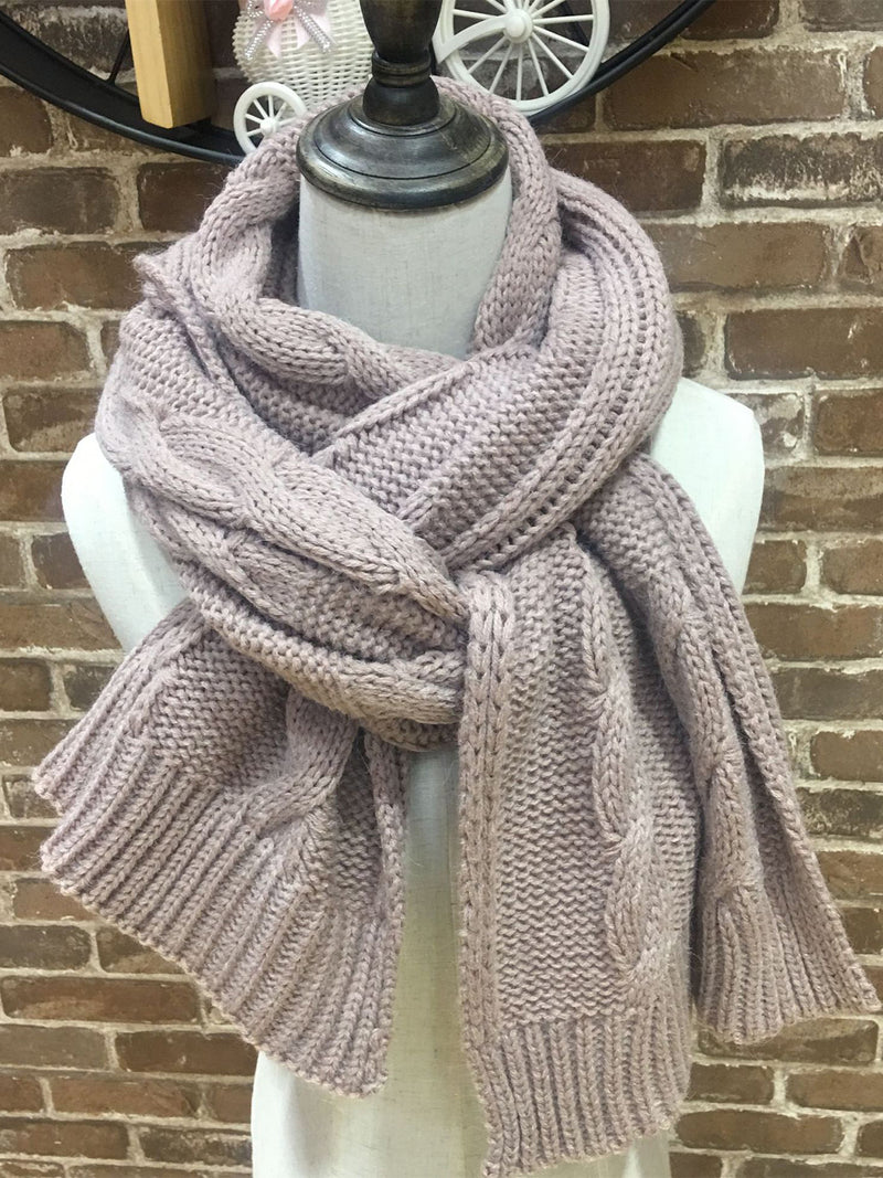 Vintage Plain Cable Casual Scarf