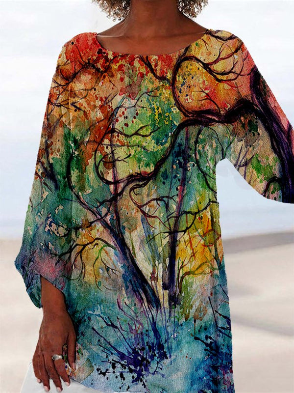 Women Shift Painted Round Neck Holiday Shirts & Tops