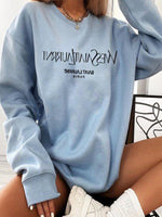 Blue Casual Letter Crew Neck Shift Sweatshirt