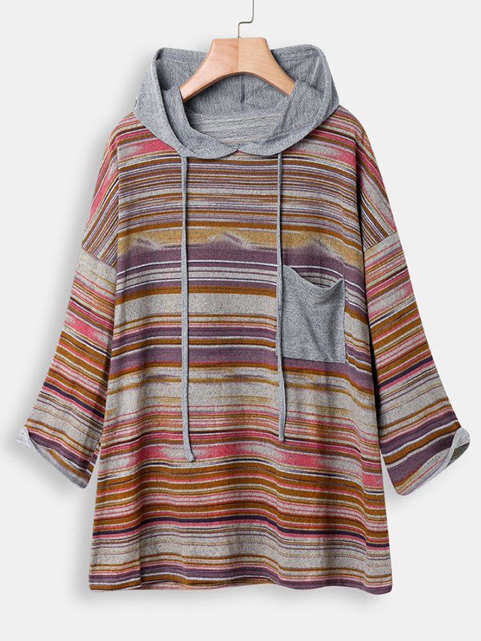 Long Sleeve Stripe Hooded Patchwork Sweatshirt