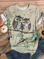 Cute Owl Printed Casual Round Neck Shirts & Tops