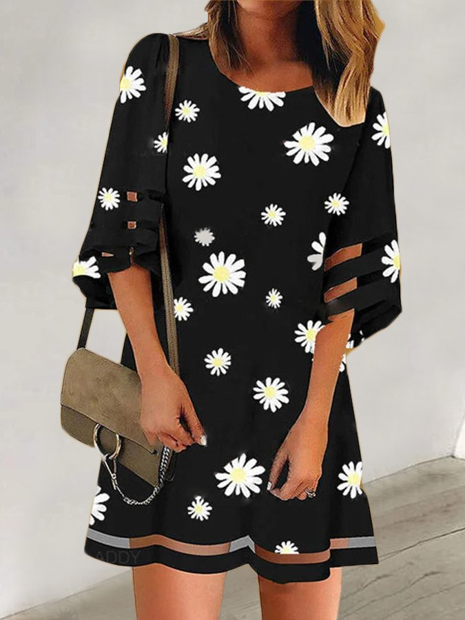 Black A-Line Floral Printed Casual Holiday Dresses