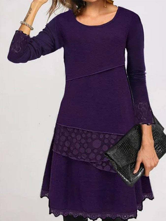 Paneled Solid Round Neck Casual Dresses