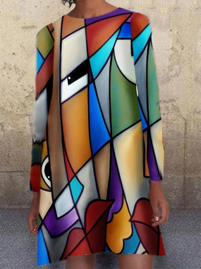 Multicolor Crew Neck Printed Long Sleeve Dress