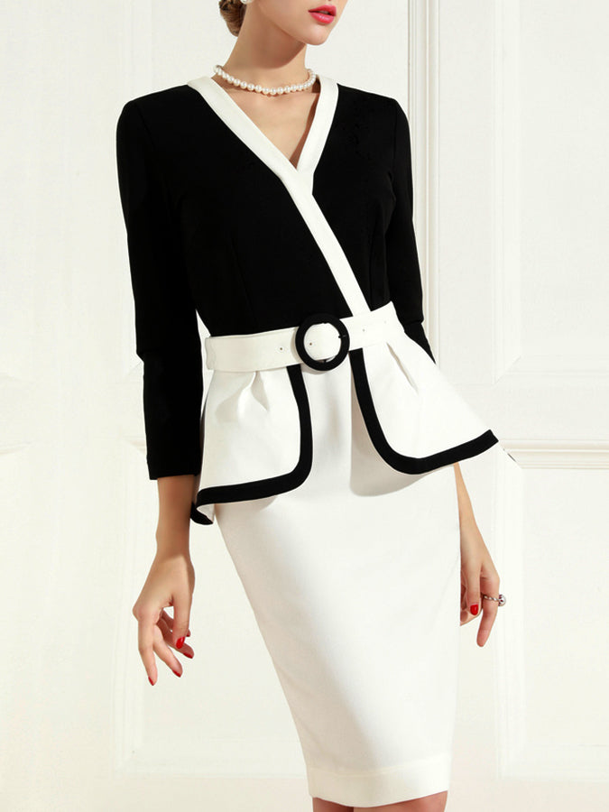 Color-Block Solid Paneled Work Dress