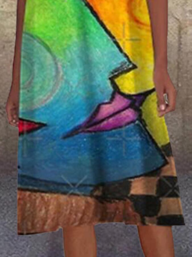 Color Sleeveless Abstract Shift Crew Neck Dresses
