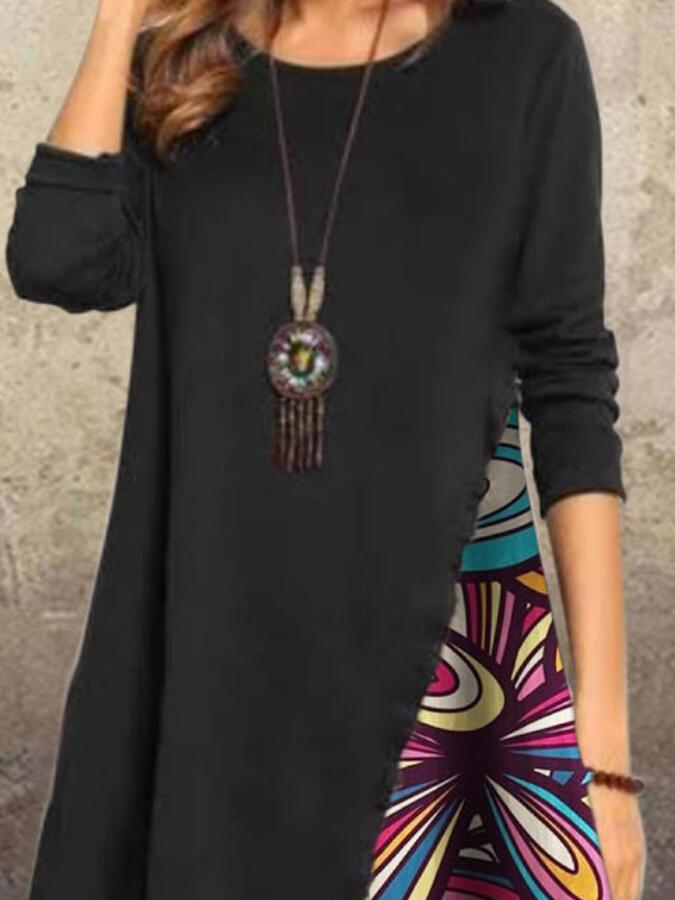 Black Long Sleeve Casual Crew Neck Dresses