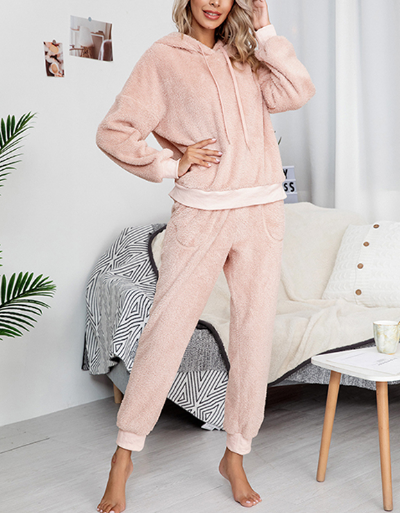 Casual Hoodie Suits Solid Color Hoody Loungewear