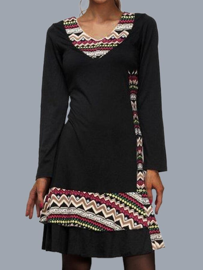 Black V Neck Paneled Long Sleeve Casual Dresses