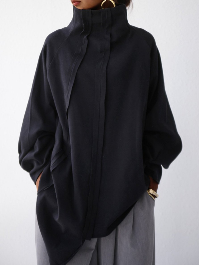Black Solid Paneled Casual Long Sleeve Shirts & Tops