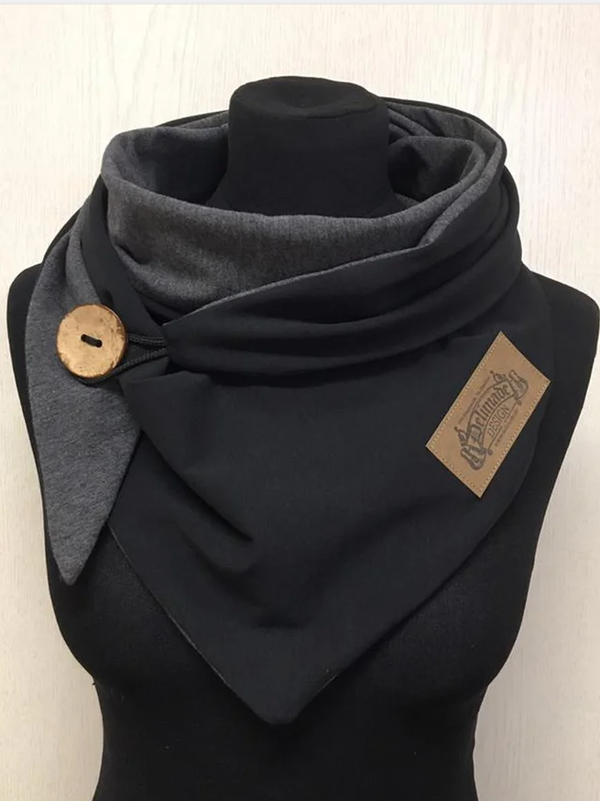 Black Casual Paneled Solid Scarves & Shawls