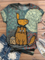 Summer Animal Short Sleeve Crew Neck Shirts & Tops
