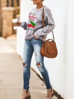 Gray Modal Long Sleeve Floral-Print Sweatshirt