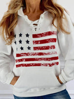 American Flag Lace Up Pocket Hoodie