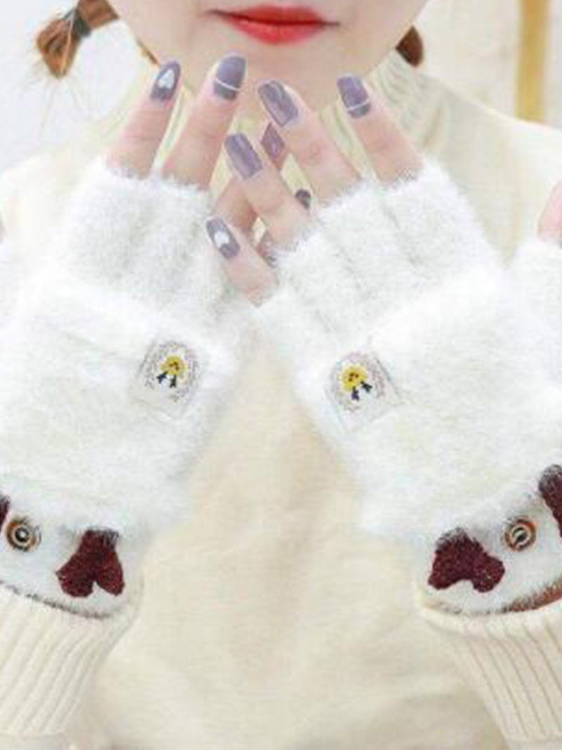 New Women Chic Christmas Deer Little Bear Holiday Warm Winter Gloves & Mittens