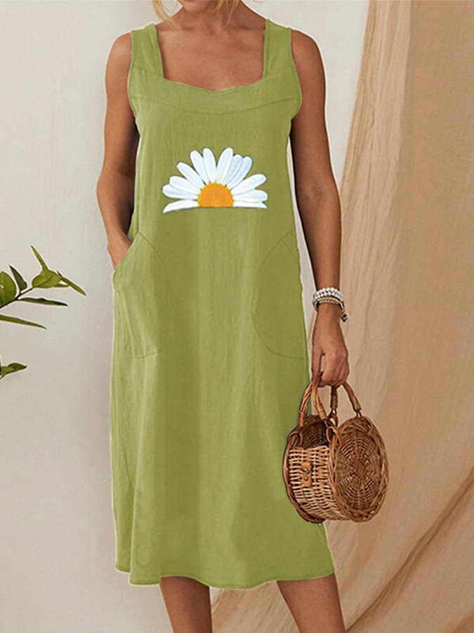 Daisy Flower Print Straps Pockets Vintage Dress For Women