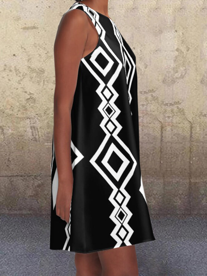 Black Geometric Pockets Crew Neck Printed Sleeveless A-line Dresses