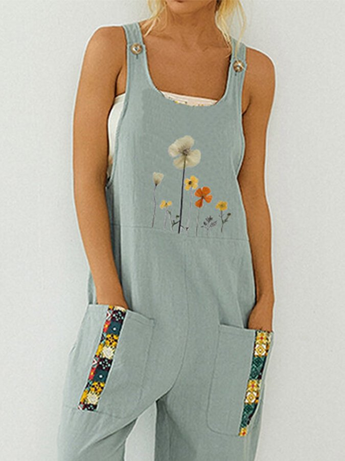 Floral Print patchwork sleeveless Square Neck Jumpsuit