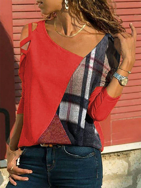 Long Sleeve Patchwork Color-Block Shift T-Shirt & Blouse