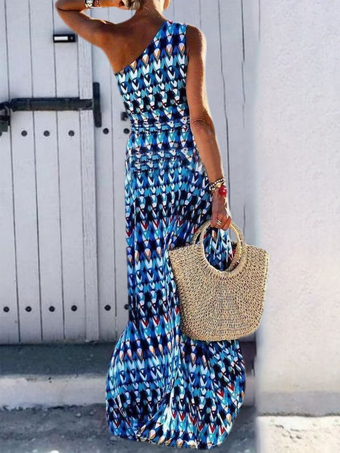 Blue Swing One Shoulder Graphic Holiday Dress
