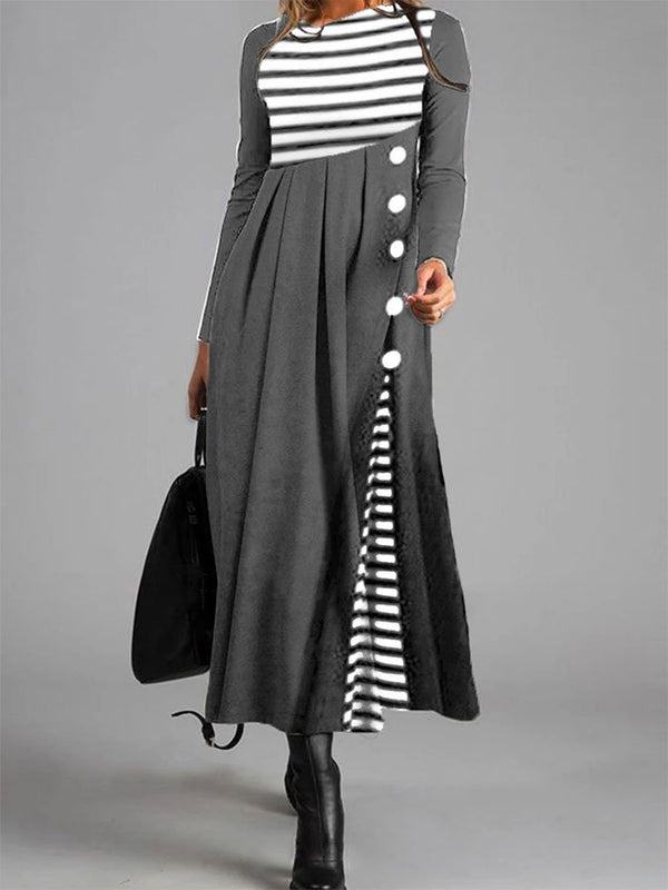 Striped Solid Color Stitching Loose Casual Dress