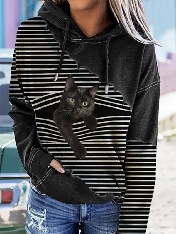 Black Cat Print Patchwork Striped Long Sleeve Hooded Sweatshirt