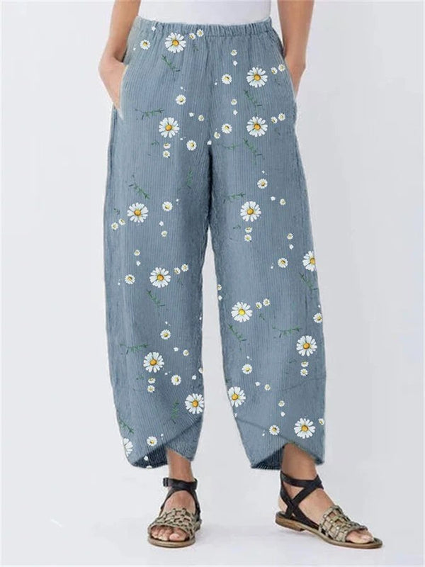 Daisy Floral Print Elastic Waist Casual Pants For Women