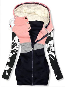 Cotton-Blend Casual Floral Hoodie Outerwear